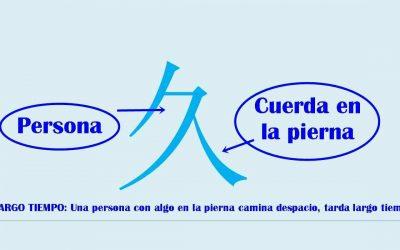 Caracter chino 久 jiǔ – largo tiempo.